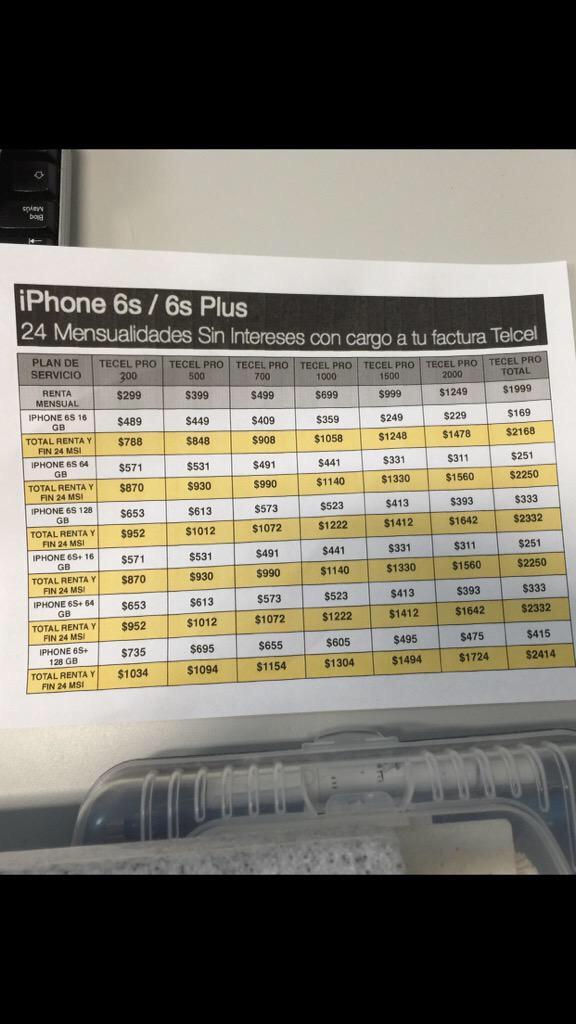 Telcel 24MSI, iPhone 6s Plus (precios oficiales)