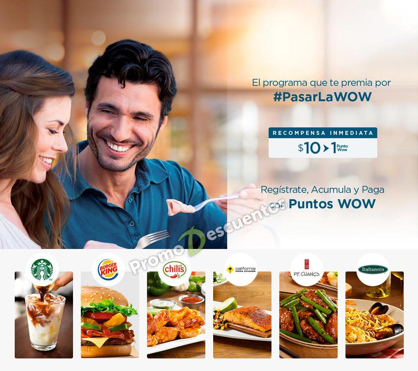 Wow Rewards: tarjeta que te da $50 centavos por cada $10 pesos de compra en Chili's, Italiannis, Burger King y más