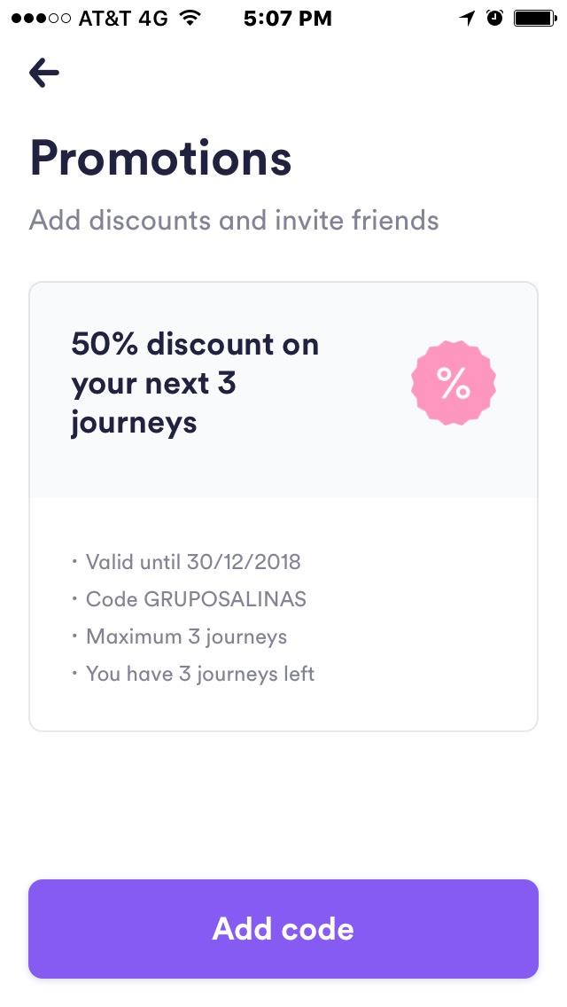 Descuento 50% en tres viajes de Cabify (SOLO NUEVOS USUARIOS)