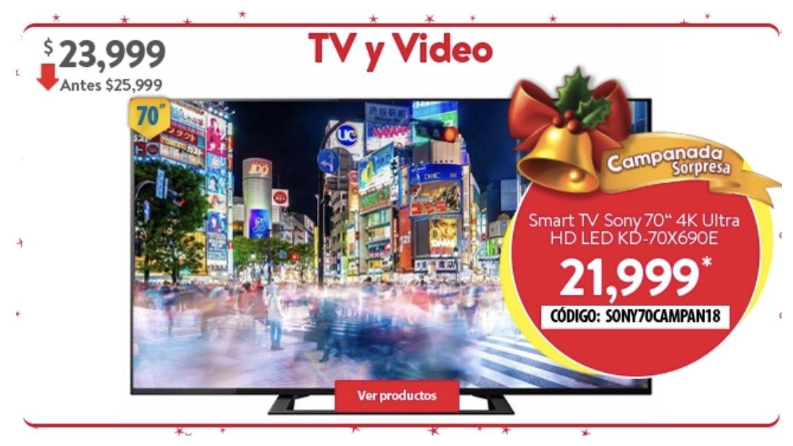 "Walmart: Pantalla Sony 70"" 4K Ultra HD Smart TV LED KD-70X690E"