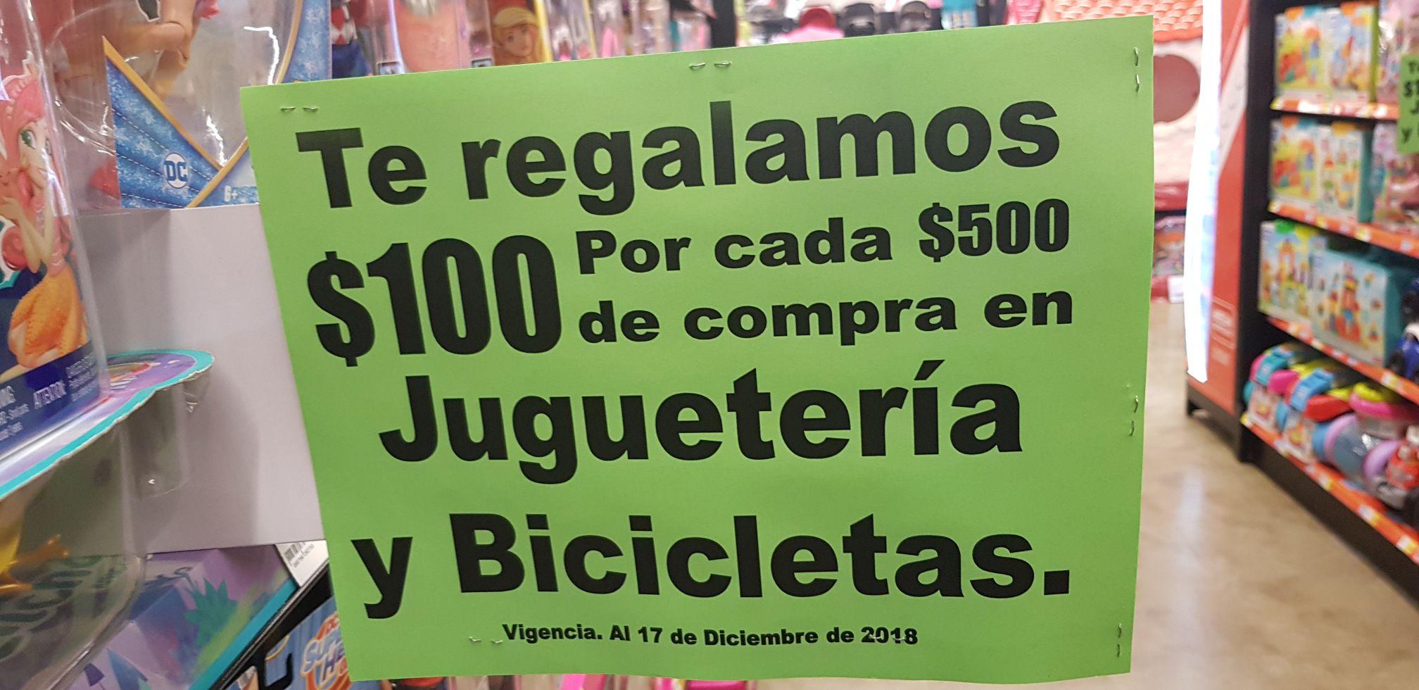 La comer: $100 de regalo por cada 500 en Juguetería y bicicletas