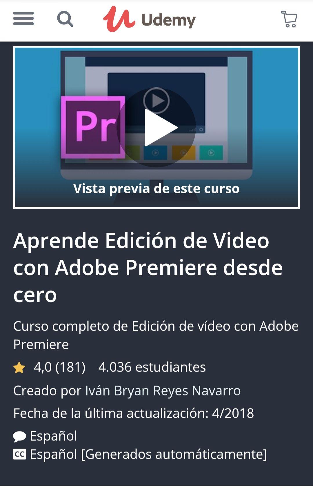 Udemy: Aprende Edición de Video con Adobe Premiere desde cero