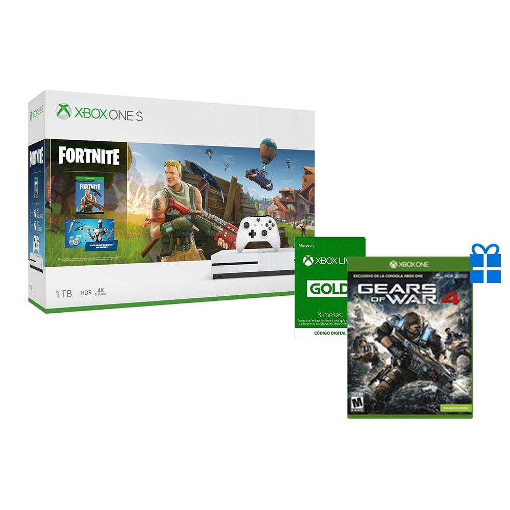 Xbox One S 1TB Fortnite, Gears of War 4 Digital, Xbox Live 3 Meses y 199 Xbox Store