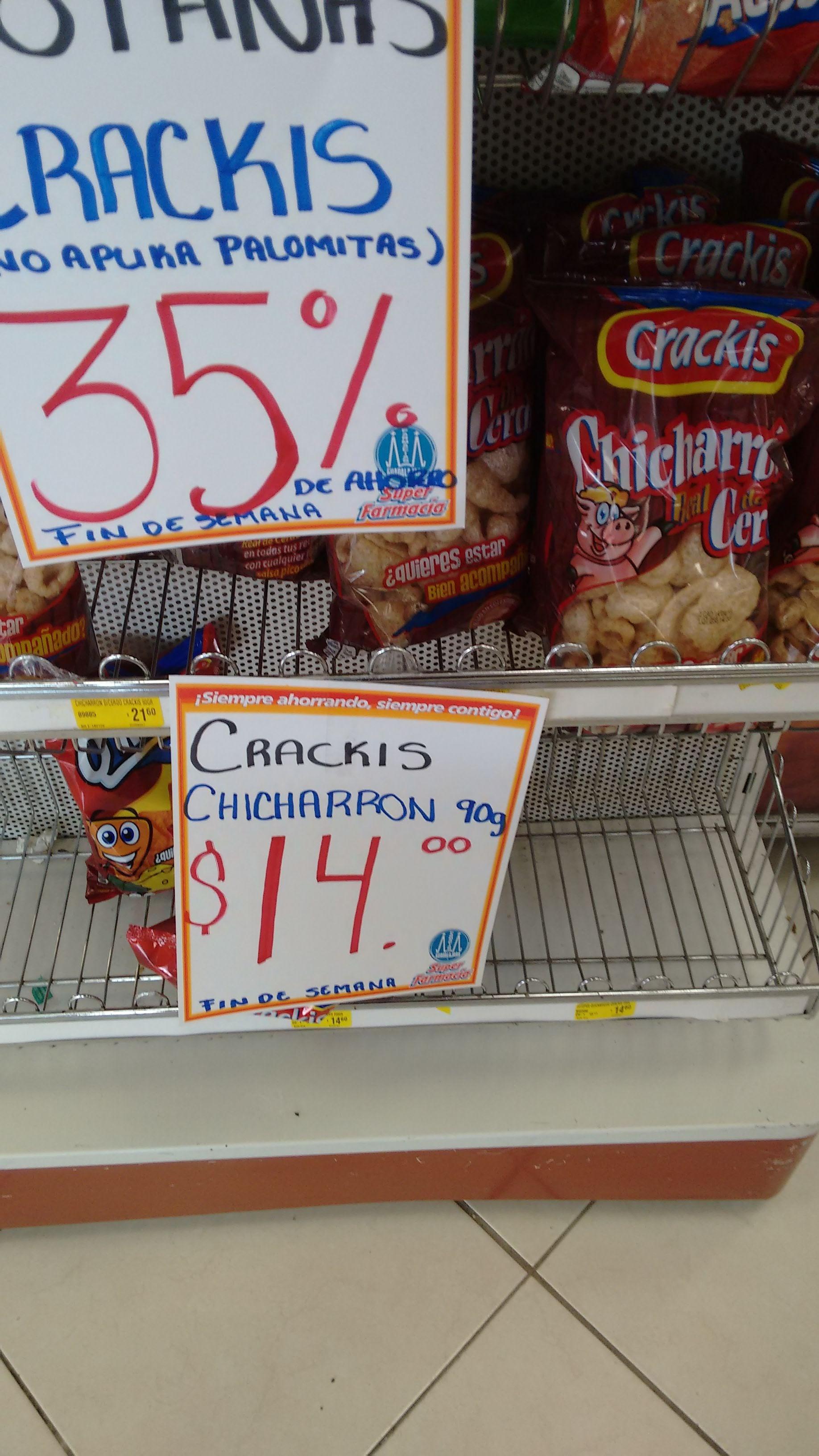 Farmacias Guadalajara - Chicharrón de cerdo Crackis de 90g por $14 pesos (bolsa grande)