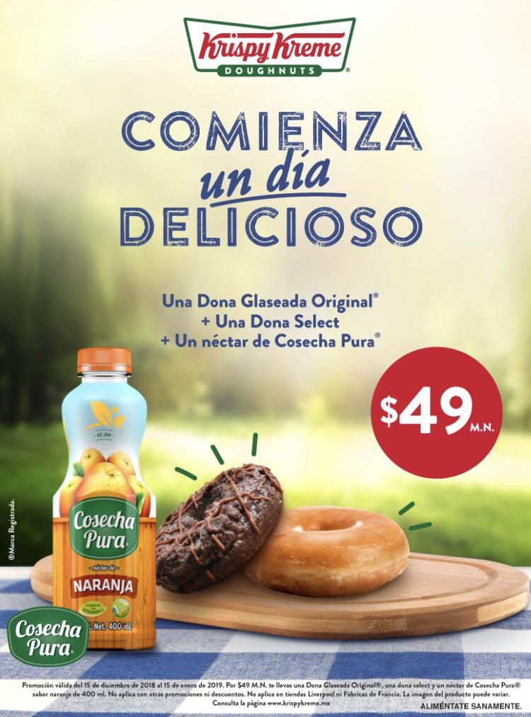 Krispy Kreme: Dos donas y un jugo por $49