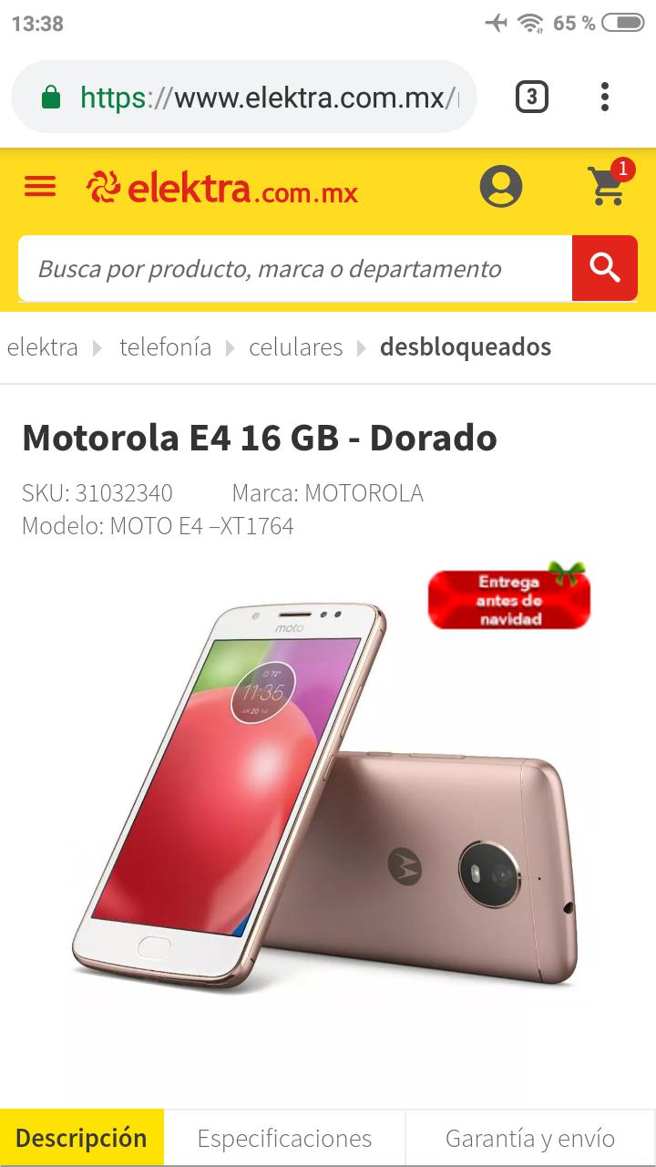 Elektra: Moto E4 16GB Dorado