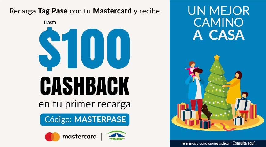 Undostres: Cashback de hasta $100 recargando Tag Pase con tarjeta Mastercard