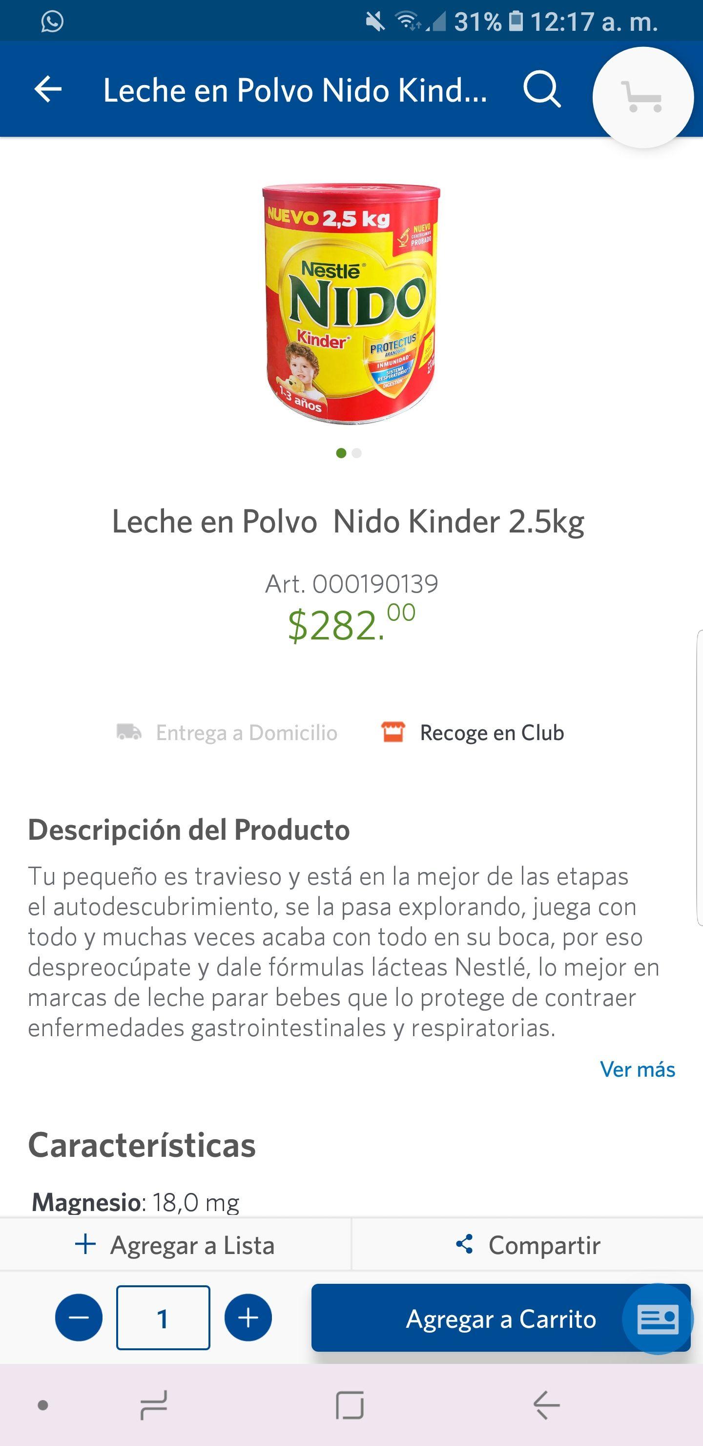 Sam's Club: Leche en Polvo Nido Kinder 2.5kg