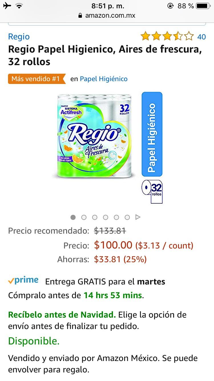 Amazon: Papel higiénico regio 32 piezas