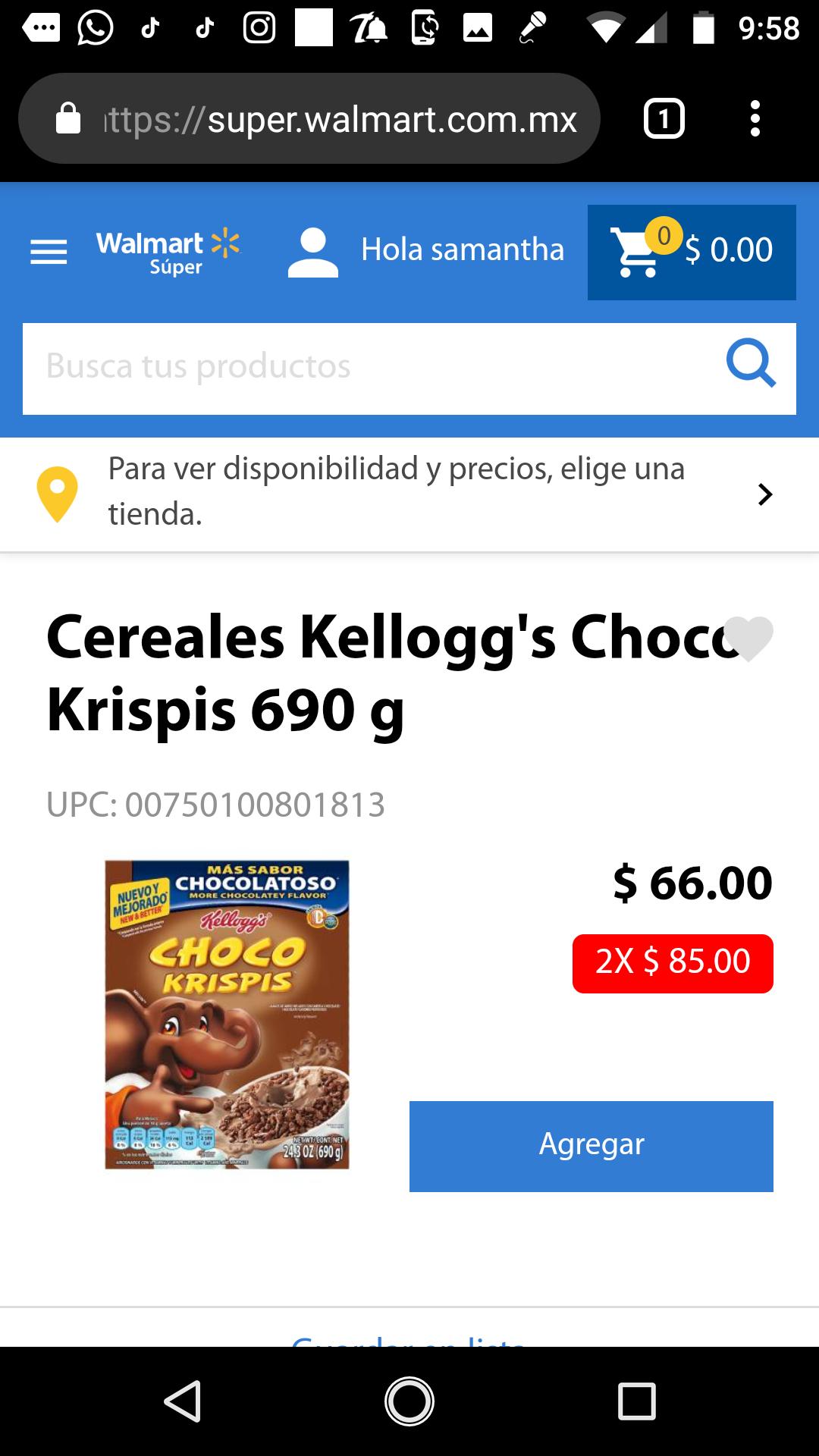 Walmart: Dos Choco Krispis por 85