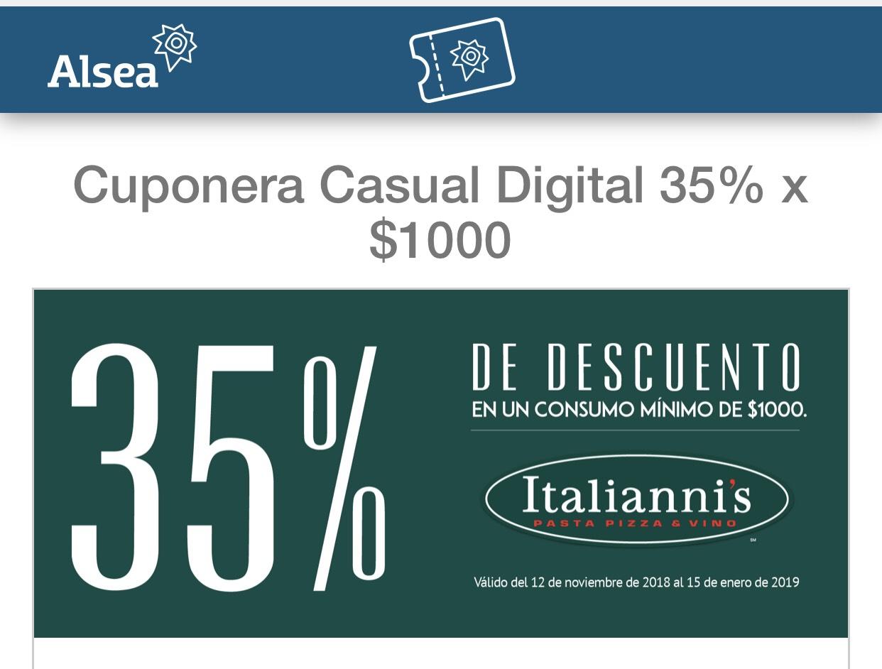 Italianni's: 35% italiannis en la compra de 1000 pesos.