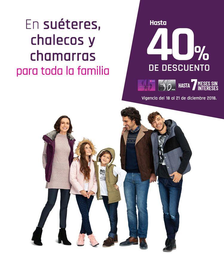 Suburbia: Hasta 40% de descuento en suéteres, chalecos y chamarras para toda la familia