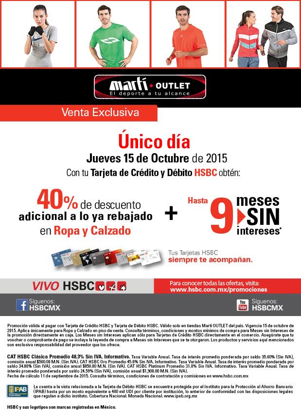 Martí Outlet: 40% de descuento en ropa, calzado y 9 meses sin intereses con HSBC