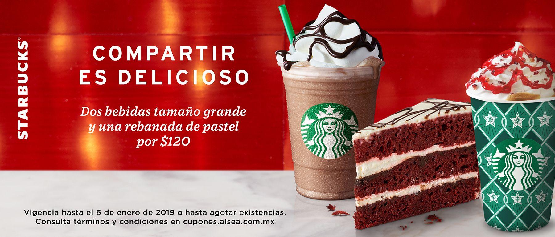 Starbucks: dos bebidas grandes y una rebanada de pastel por $120
