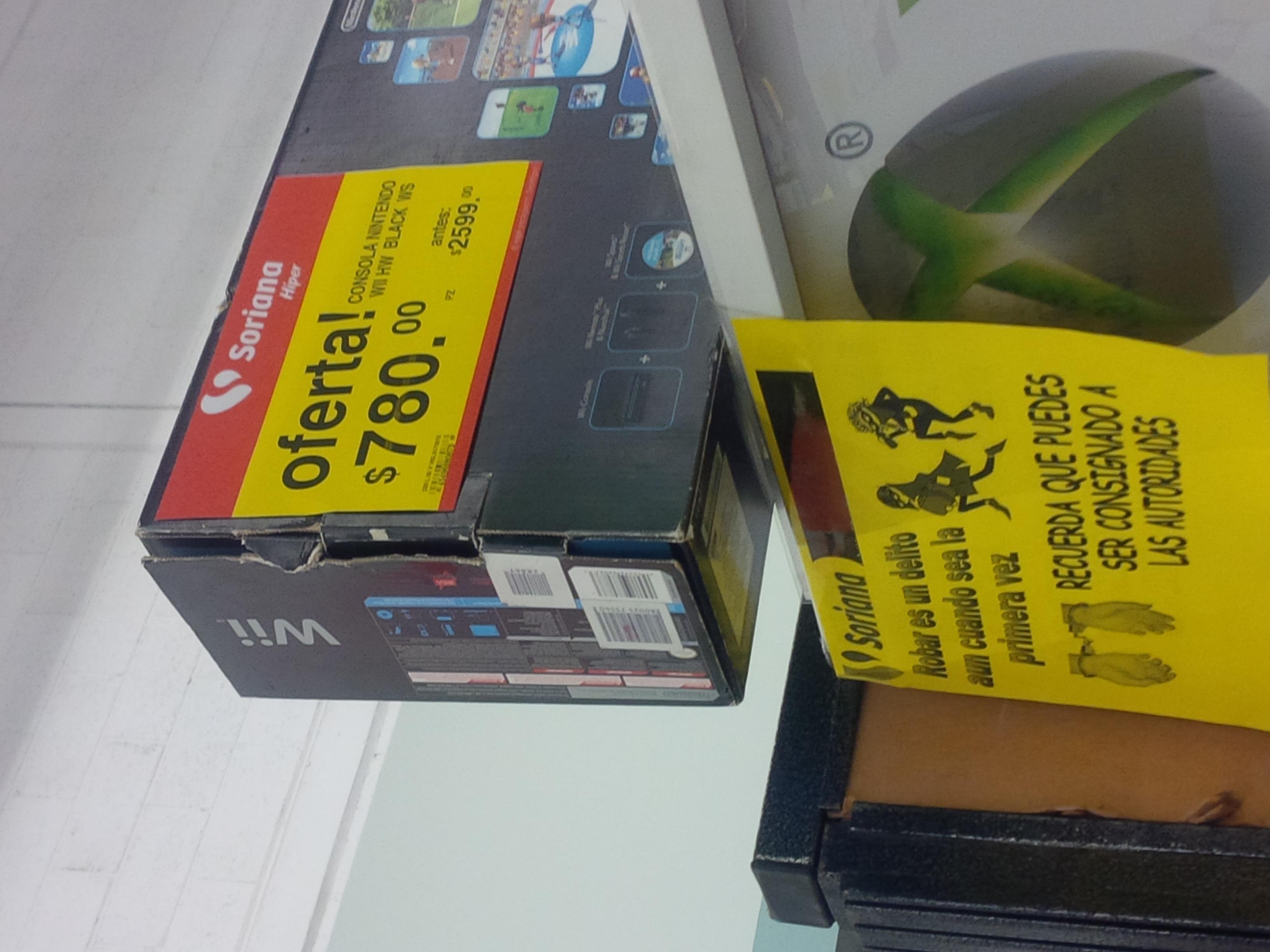 Soriana: Wii negro con 2 juegos $780