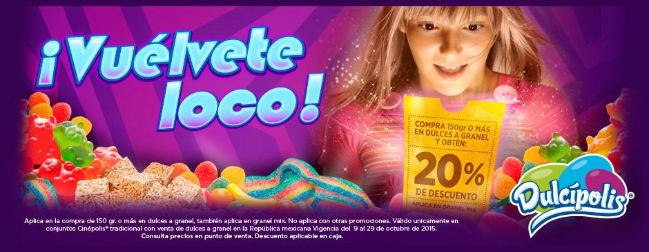 Cinépolis: 20% de descuento en dulces a granel (mín 150g)