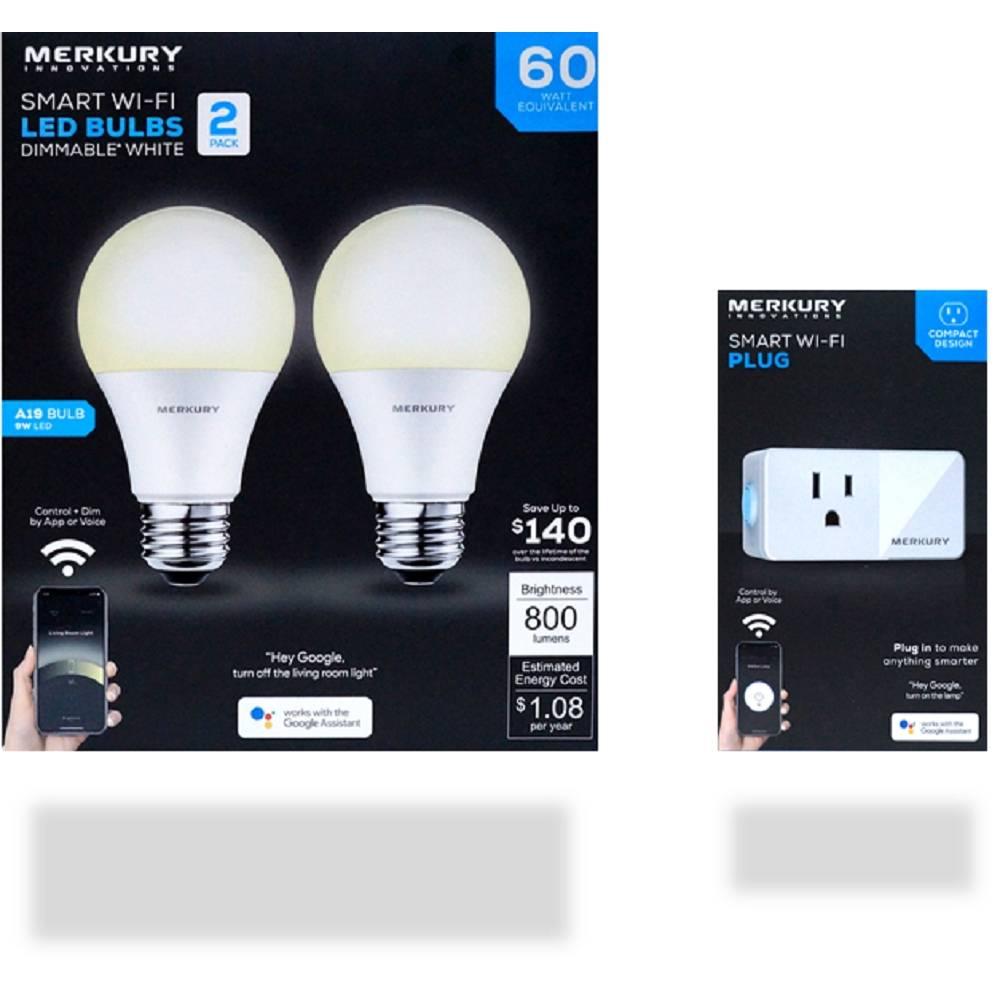 Walmart: Paquete de Focos Inteligentes Merkury Innovations 60 Watts más Enchufe WiF
