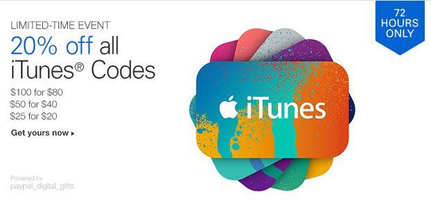 eBay:20% de Descuento en códigos de compra iTunes