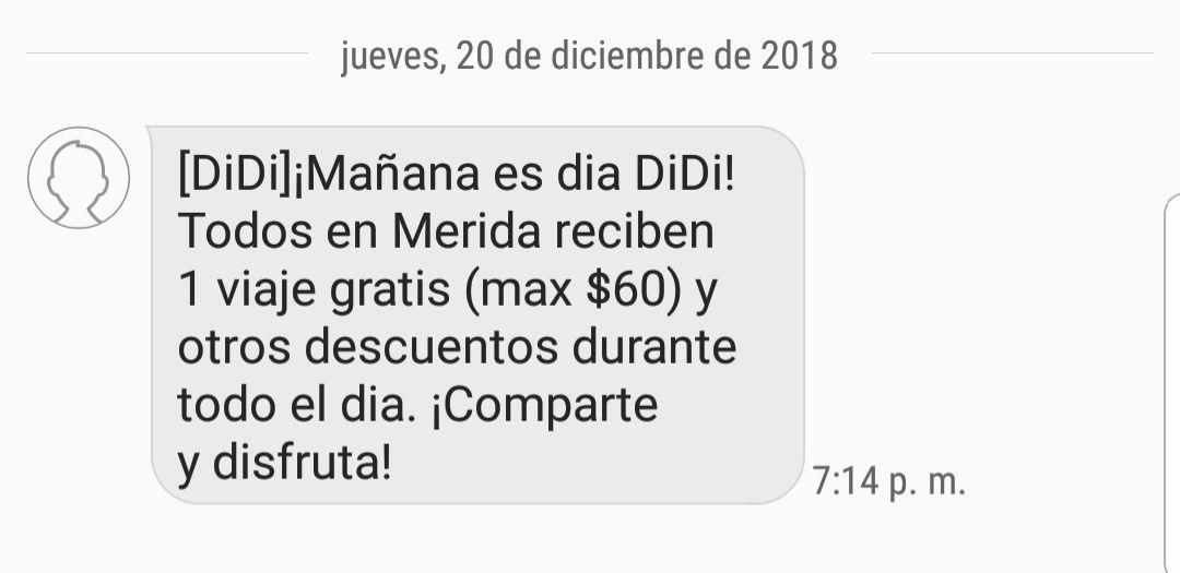 Didi Mérida: Viaje gratis de hasta $60 (21 de Diciembre)