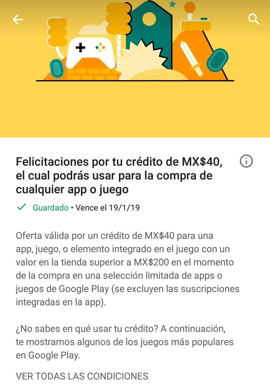 Google Play: $40 pesos de saldo para comprar aplicaciones