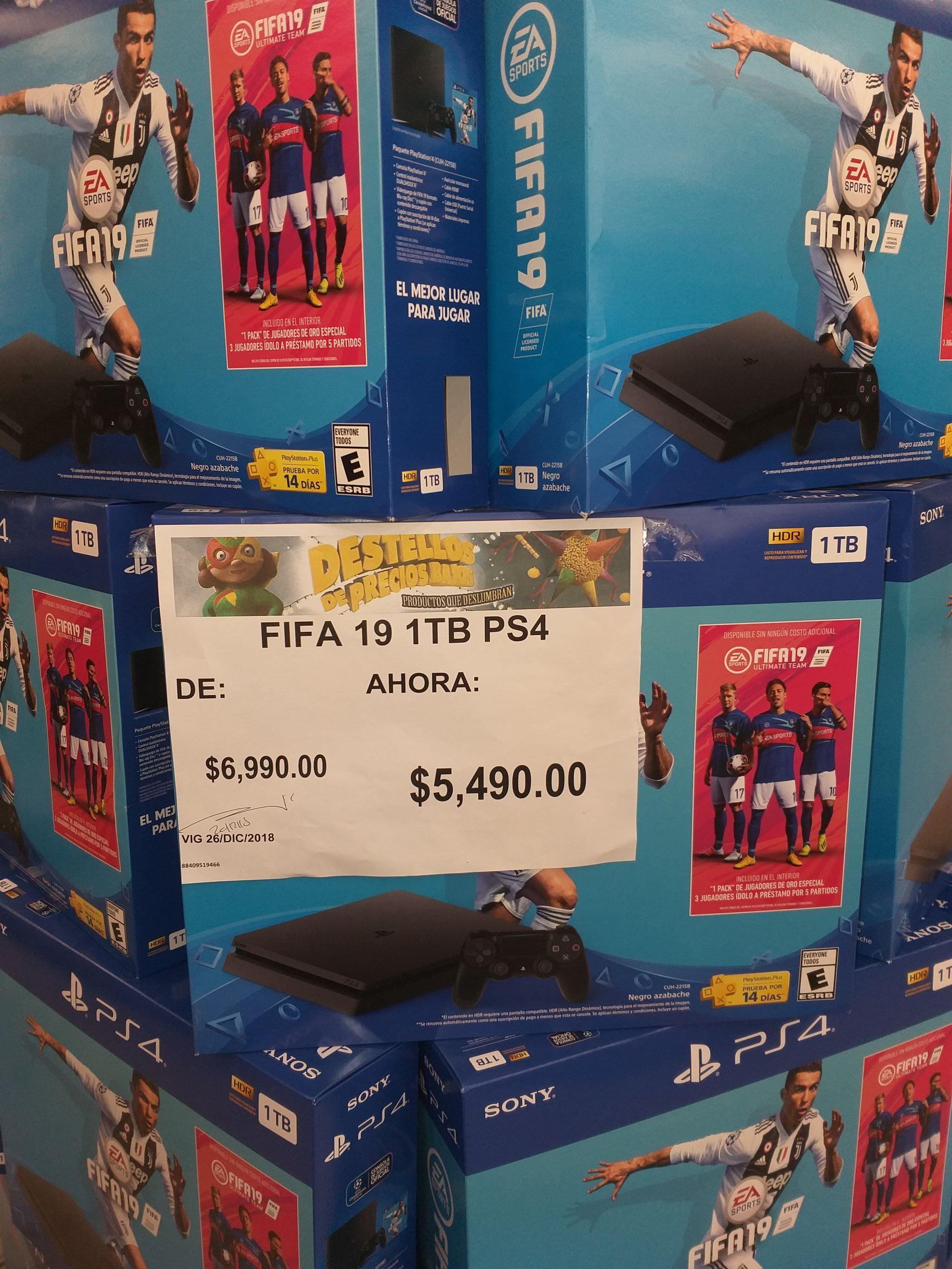 Bodega Aurrera: Consola Playstation 4 con Fifa 19