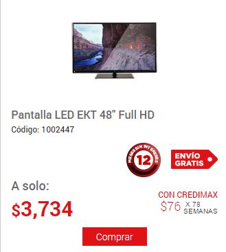 "Elektra: Pantalla LED EKT 48"" Full HD $3,734"