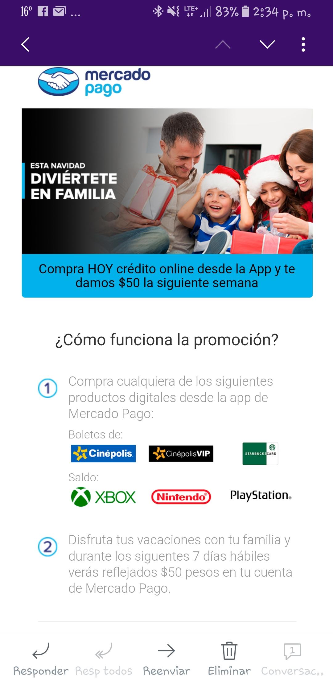 MERCADO PAGO: $50 DE REEMBOLSO AL COMPRAR CRÉDITO de servicios seleccionados  DESDE LA APP
