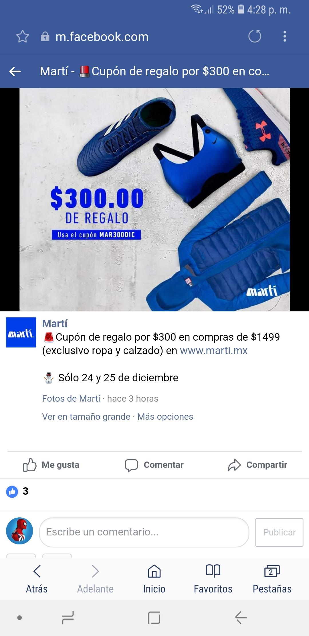 Martí: Cupón de $300 pesitos en compras de $1,499.