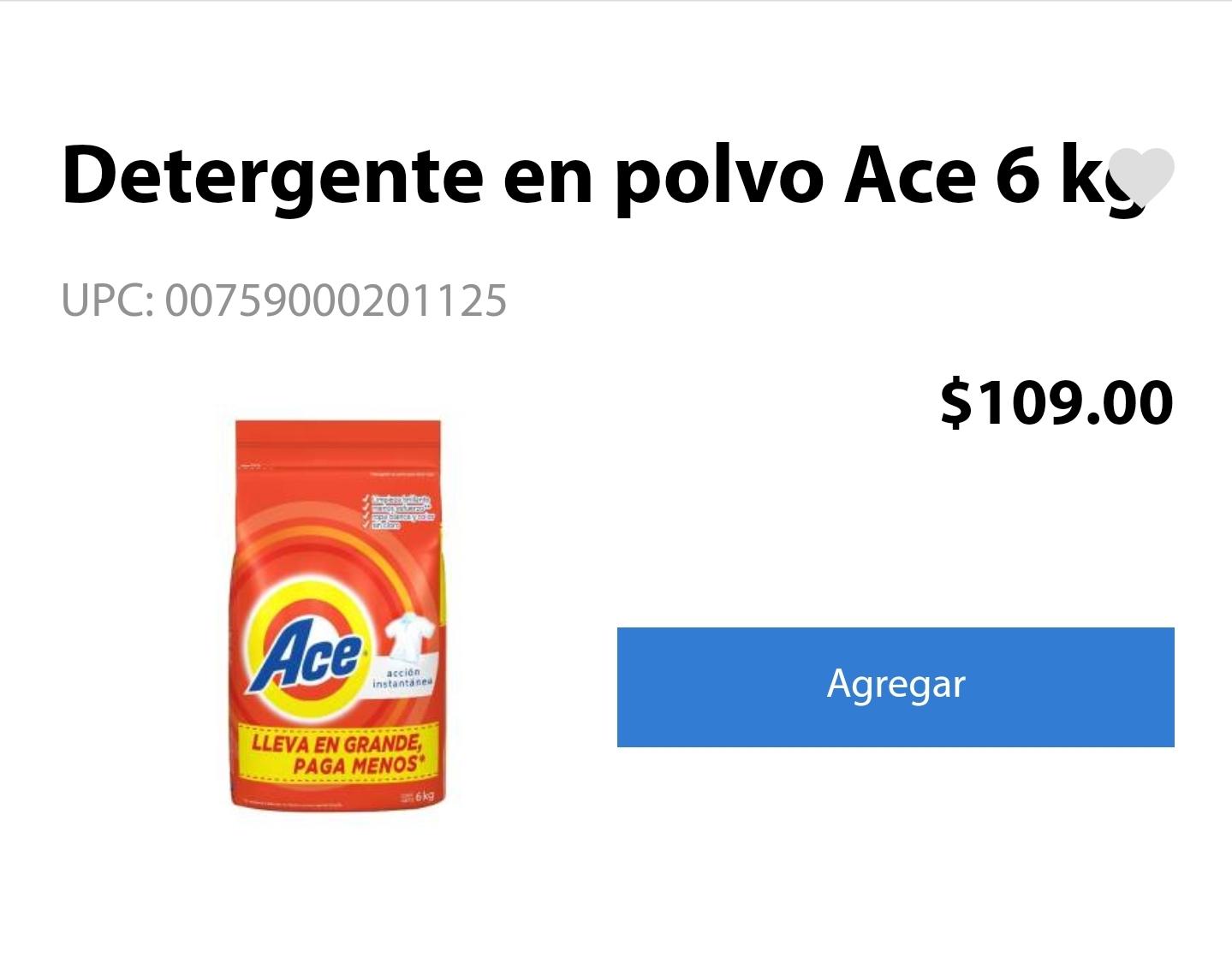 Walmart: Detergente Ace 6 kg $109