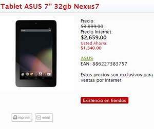 Sanborns: Nexus 7 de 32GB $2,659