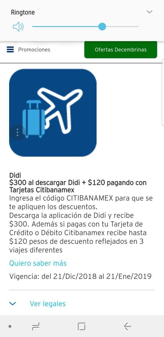 DiDi: $40 descuento en 3 viajes con Banamex