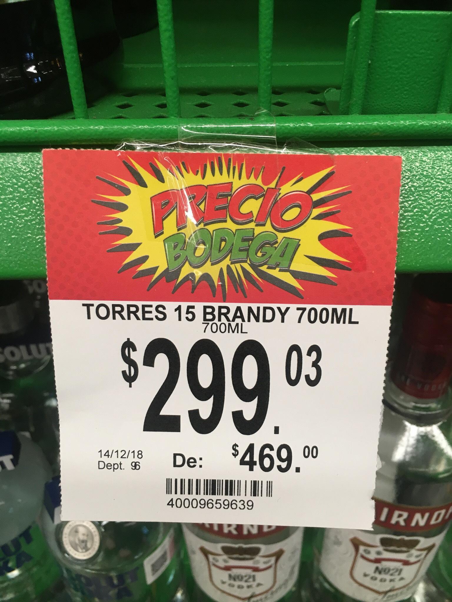 Bodega Aurrera: Brandy Torres 15 700ml en primer liquidación