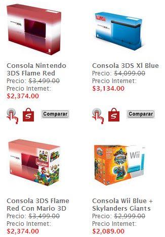 Sanborns: Nintendo 3DS XL con Mario Kart $3,134 y Wii con Skylanders $2,089