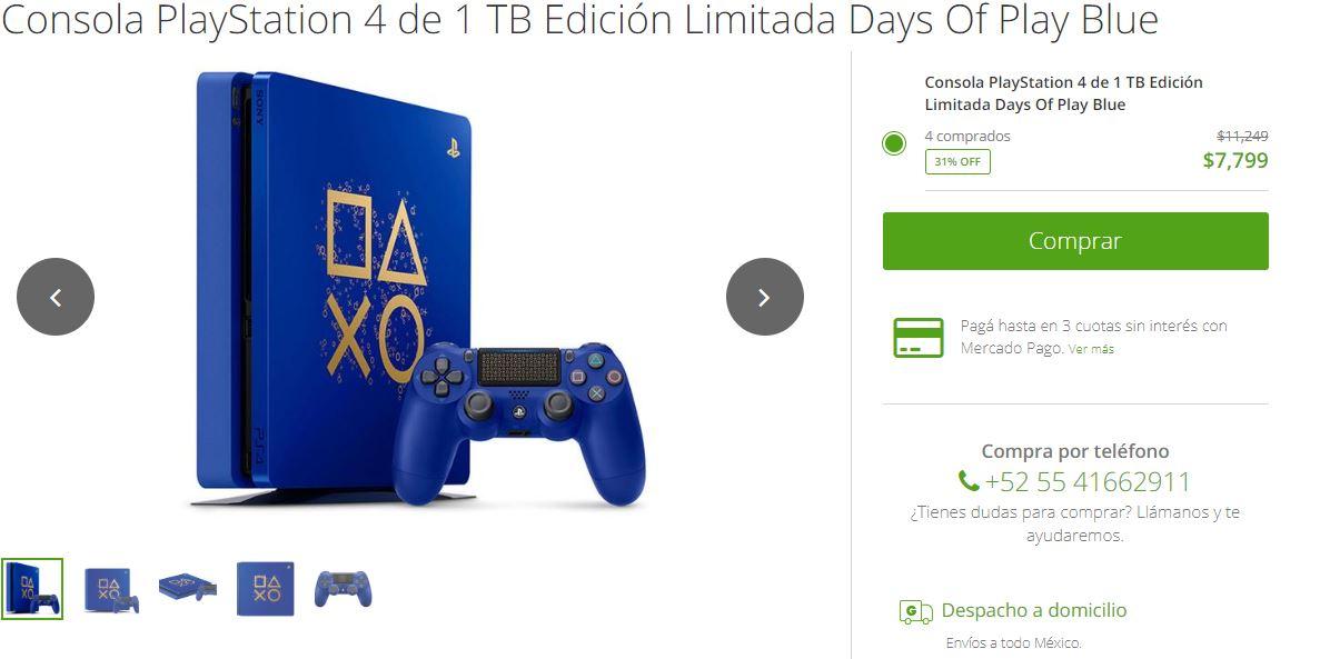 Groupon: PlayStation 4 de 1 TB Edición Limitada Days Of Play Blue