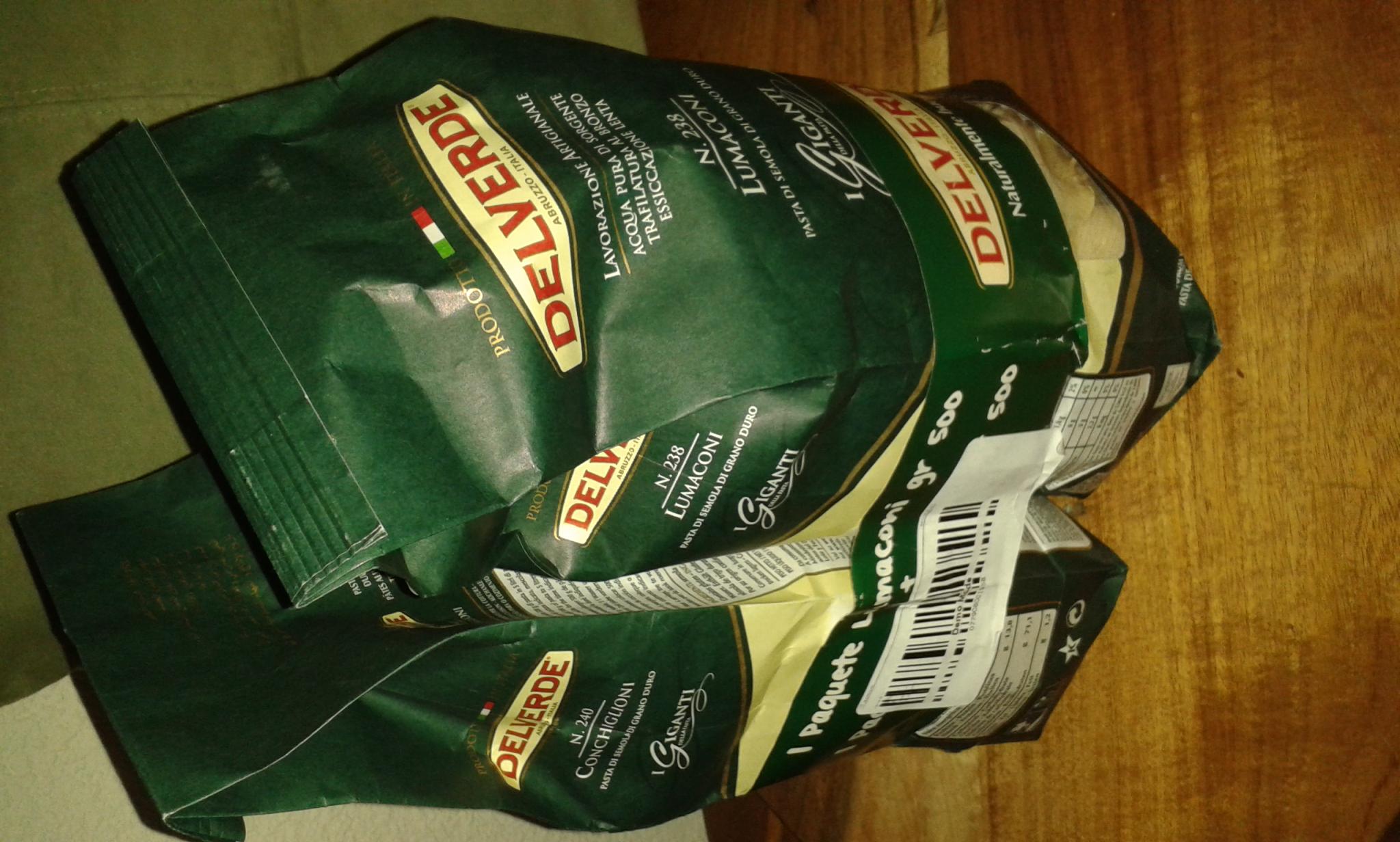 Walmart: Paquete de Pasta Conchiglioni Del Verde 2 Bolsas de 500gr de 49.70 a 15.01