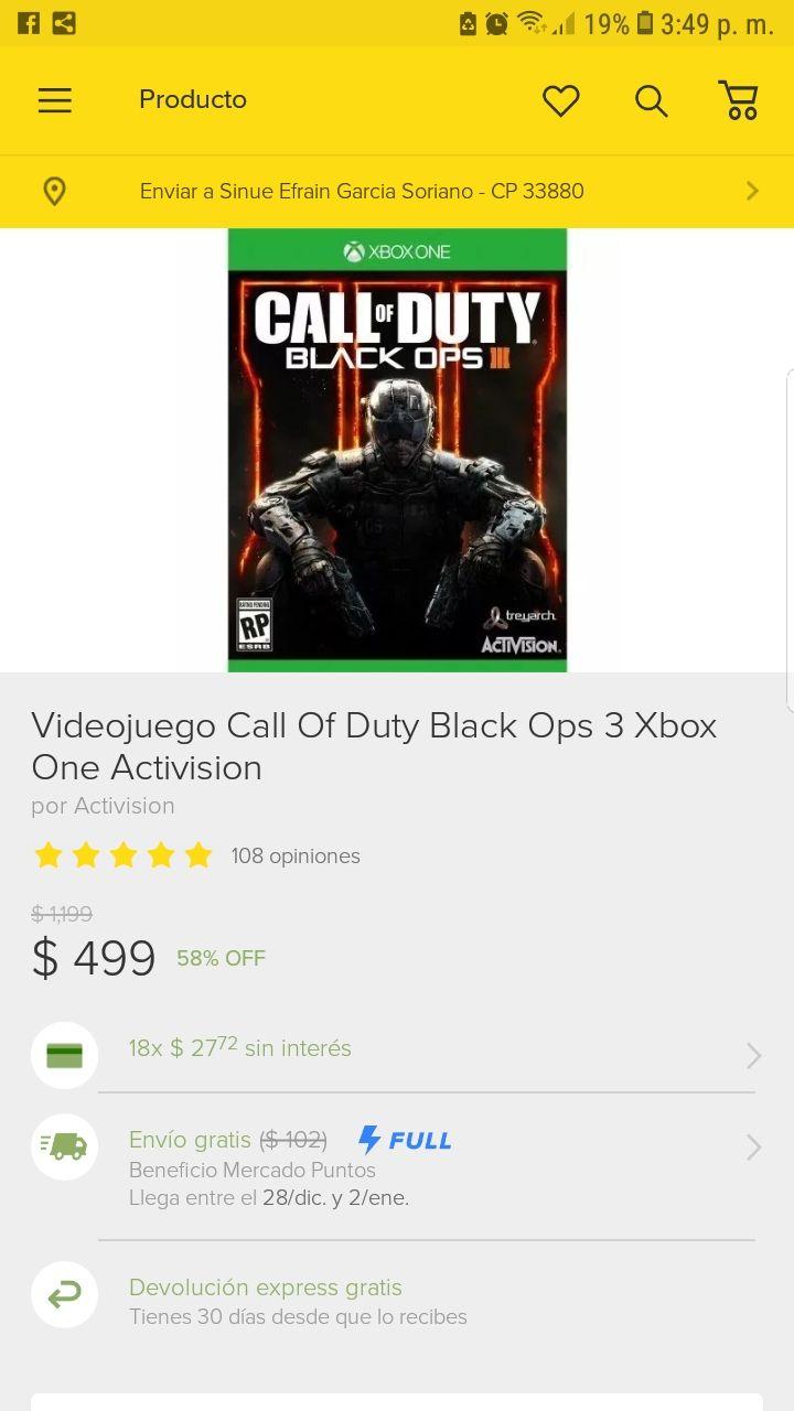 Tienda oficial Activision en Mercado Libre: Black Ops 3 Xbox one