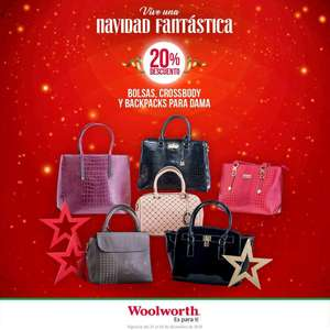 Woolworth: 20% de descuento en bolsas, crossbody y backpacks para dama
