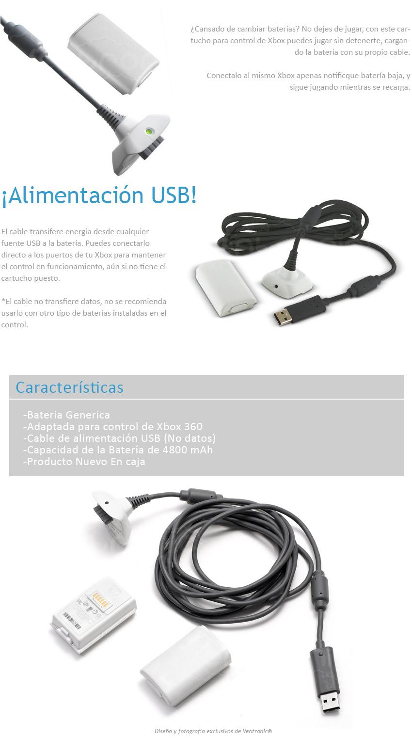 Linio: kit carga y juega Xbox 360 genérico $120 y envío gratis con Linio Plus