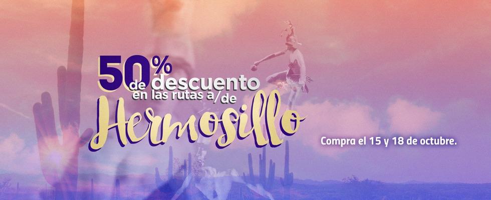 TAR: 50% de descunto en vuelos de / a Hermosillo
