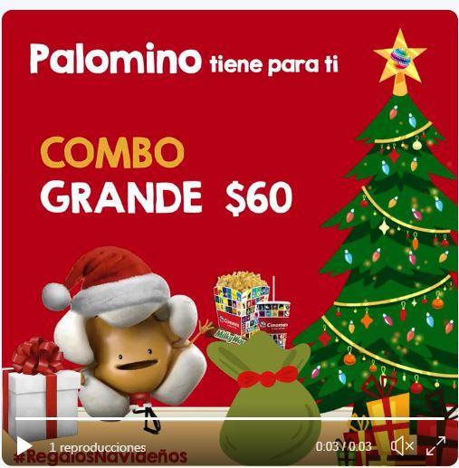 Cinemex: regalo del día 6 combo grande $60