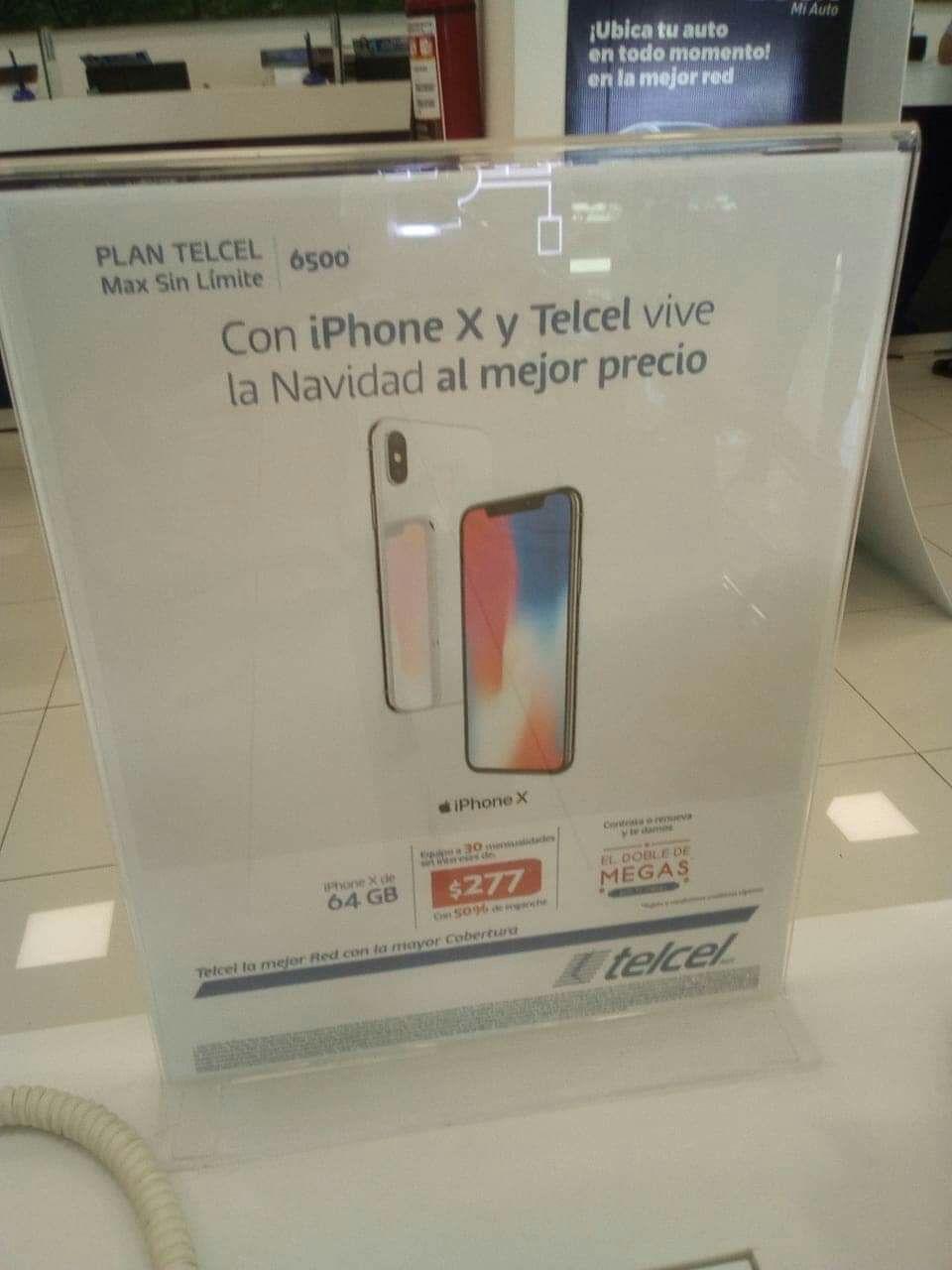 Telcel: Iphone X en plan telcel 699