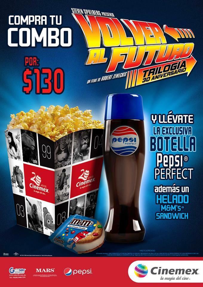 """Cinemex: combo Pepsi Perfect """"Volver al Futuro"""""""