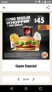 Burger King: Combo Whopper + Cono