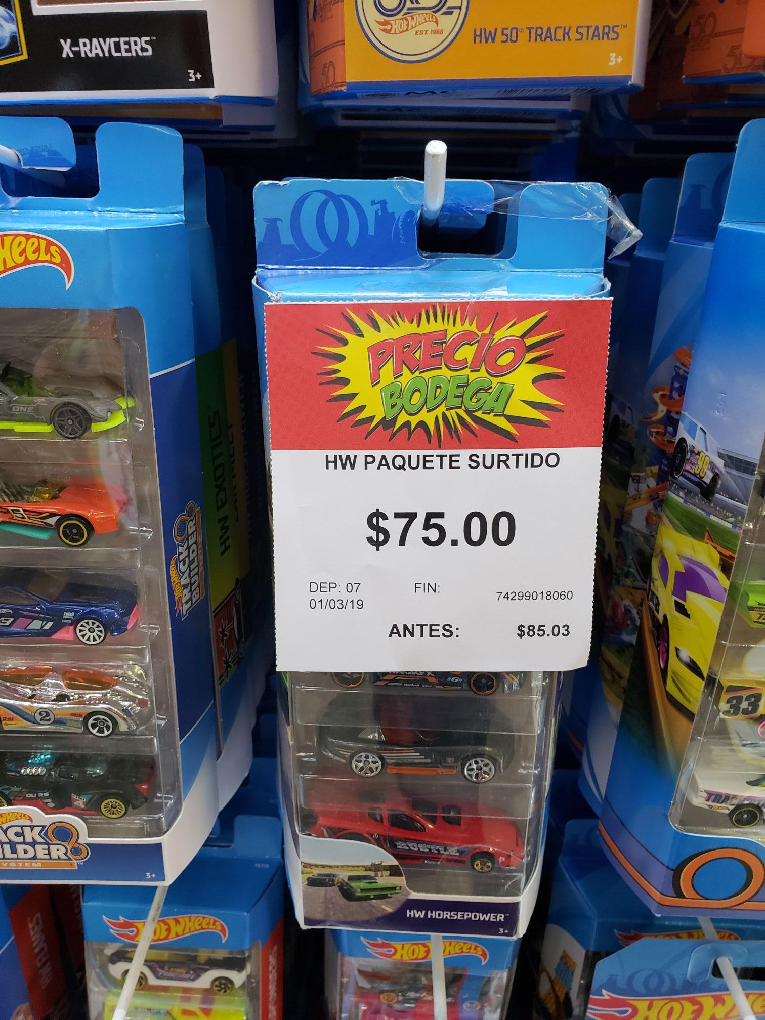 Bodega Aurrera: Hotwheels 5 por $75