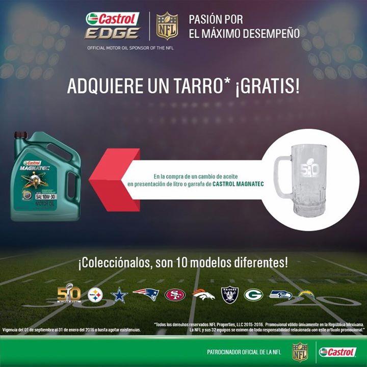 Tarro o playera de la NFL gratis al comprar productos Castrol