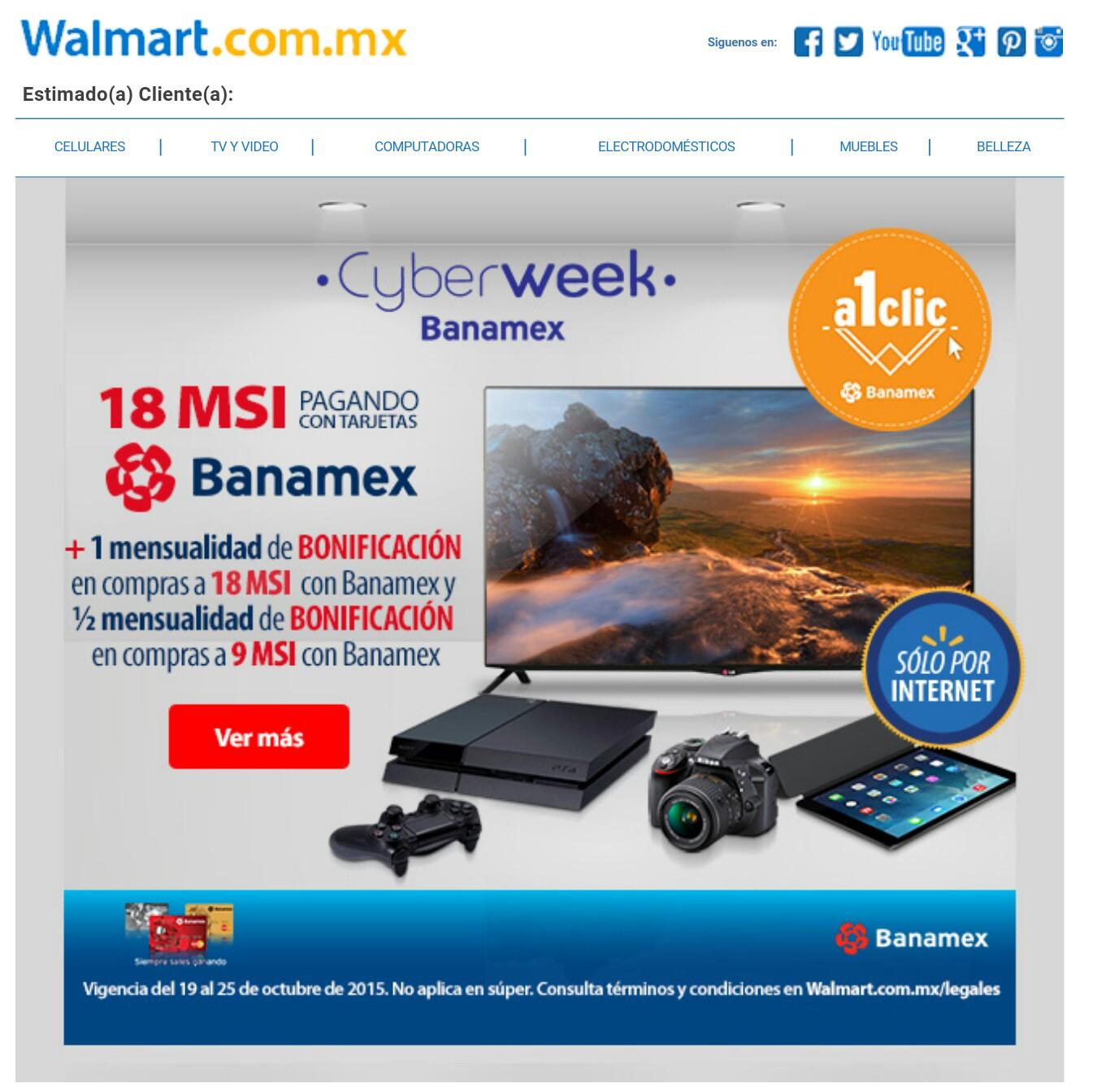 Walmart: Cyberweek, 1 mensualidad de bonificación pagando a 18 MSI con Banamex.