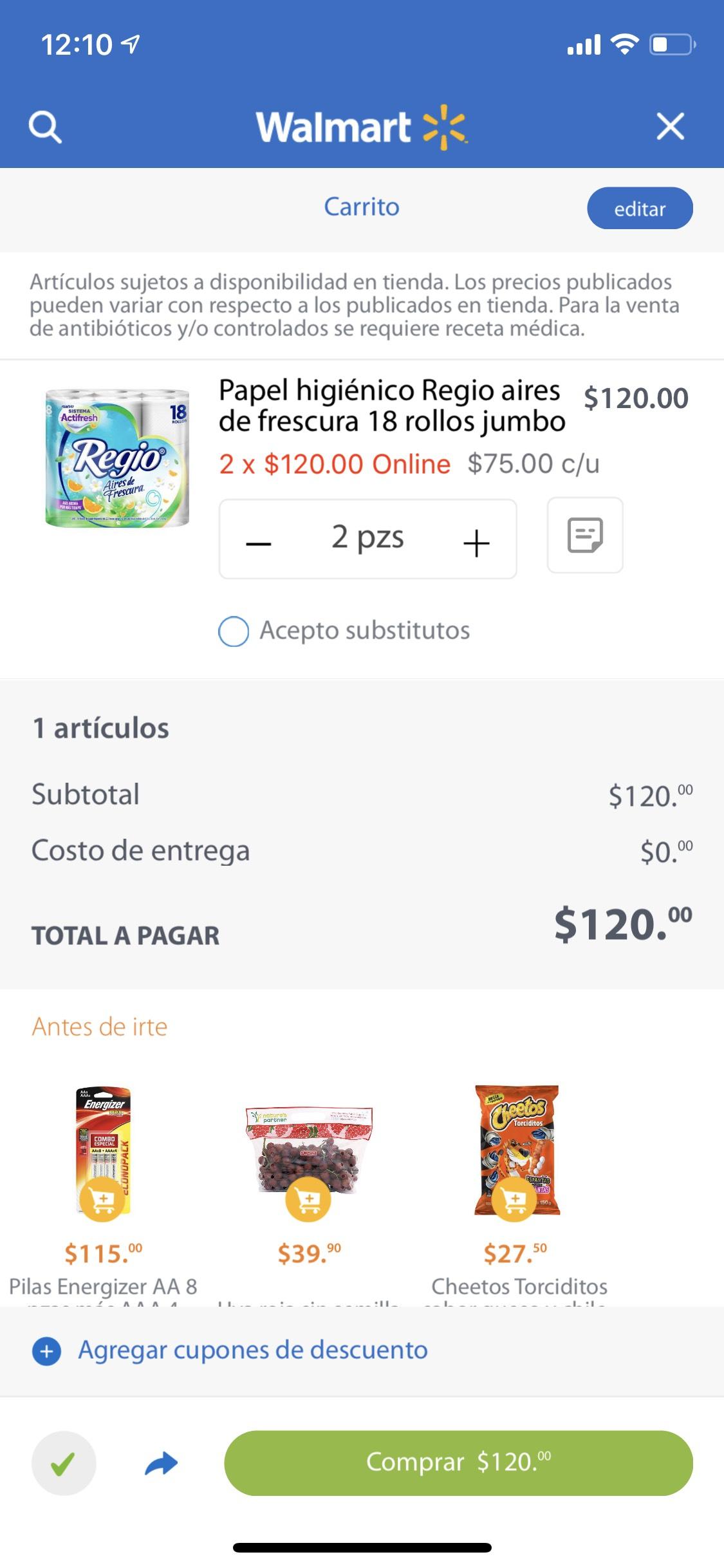 Walmart: Papel higiénico Regio aires de frescura 18 rollos jumbo (2x$120)