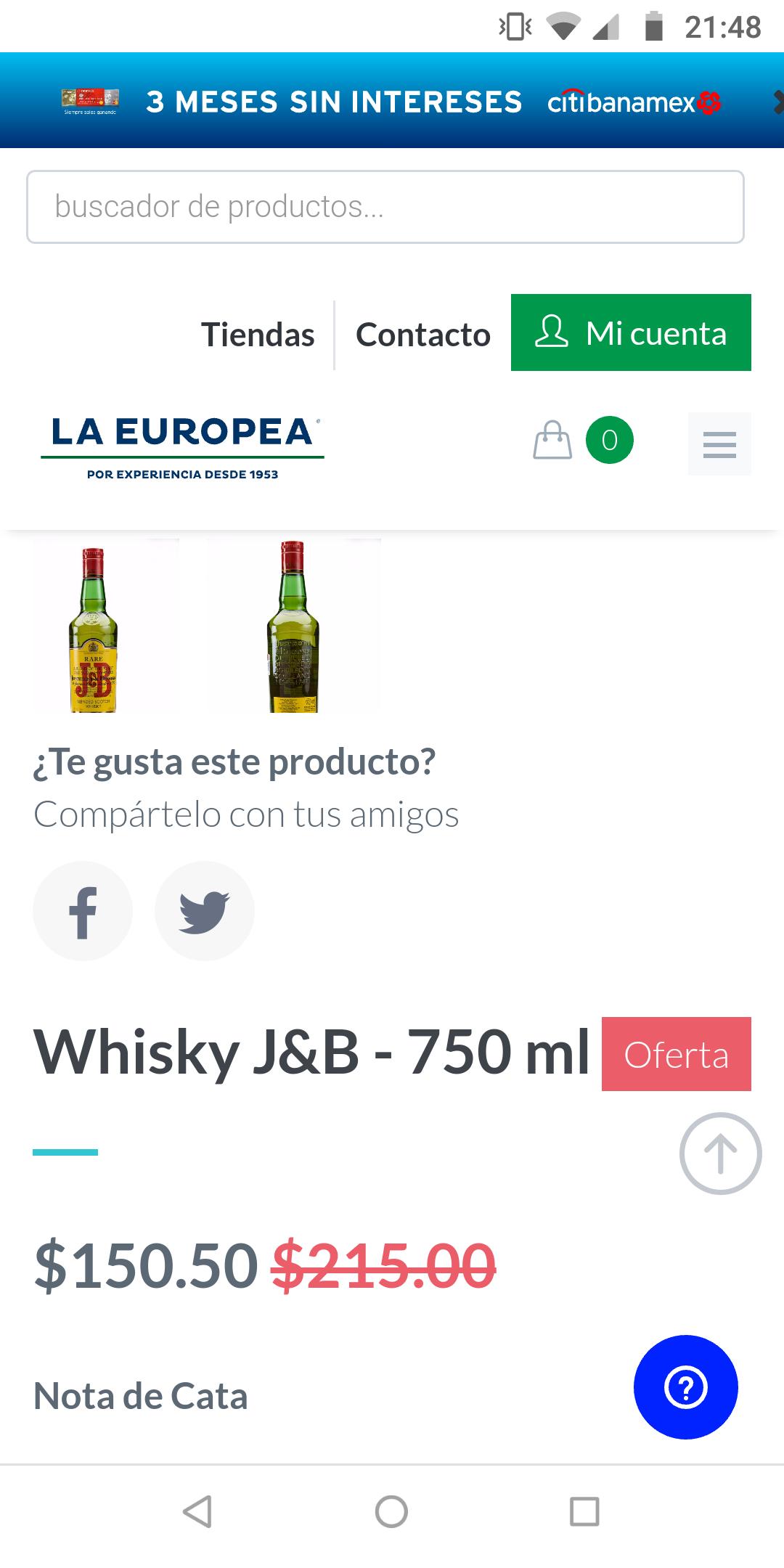La Europea: Whisky J&B 750 ml
