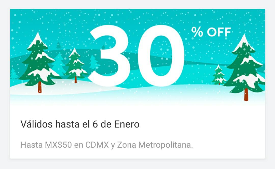 DiDi: 30% de descuento hasta el 6 de enero (hasta $50, usuarios seleccionados) CDMX y Área Metropolitana
