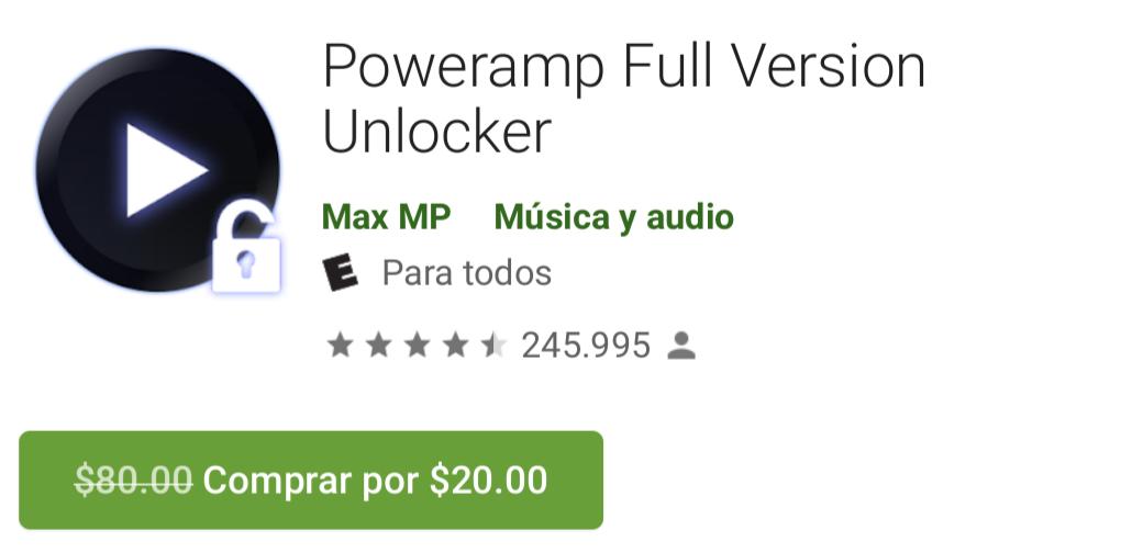 Google Play: Poweramp Full versión Unlocker de $80 a $20 por tiempo limitado